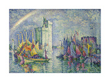 Rainbow at the Port of La Rochelle; Arc-En-Ciel, La Rochelle, Le Port, 1912 Gicléetryck av Paul Signac