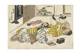 New Year's Gathering Within a Brothel, 1741-1744 Giclee Print by Okumura Masanobu