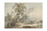 Italianate Landscape with Travellers No.2, C.1760 (W/C, Pen and Grey Ink over Graphite) Giclee Print by Paul Sandby