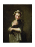 Girl Holding a Cat Giclee Print by Philippe Mercier