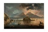 Naples at Night with Vesuvius Erupting Giclee Print by Pietro Antoniani