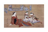 Nikuhitsu Ukiyo-E: Courtesan and Two Attendants, C. 1735 Giclee Print by Okumura Masanobu
