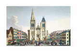 View of the Facade of the Church of Saint-Denis Near Paris, C.1820 Giclee Print by Pierre Courvoisier