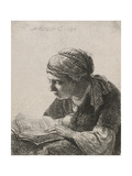 Woman Reading, 1634 Giclee Print by  Rembrandt van Rijn