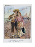 Back from Fishing by Pietro Scoppetta (1863-1920), Italy, 20th Century Giclee Print by Pietro Scoppetta