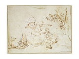 The Angel Appears to Hagar and Ishmael in the Wilderness (Pen and Brown Ink with Bodycolour on Pape Giclee Print by  Rembrandt van Rijn