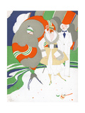Caricature of Flappers Wearing Furs, C.1920 Giclee Print by Ralph Barton