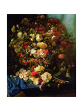Still Life of Flowers on a Ledge with Birds Nest, 1884 Giclee Print by Pierre-Louis de Coninck