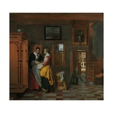 Interior with Women Beside a Linen Cupboard, 1663 Giclee Print by Pieter de Hooch