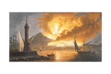 View of the Great Eruption of Vesuvius from the Mole of Naples in the Night of 20 October 1767 Giclee Print by Pietro Fabris