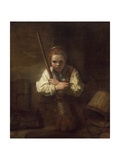 A Girl with a Broom, 1651 Giclee Print by  Rembrandt van Rijn