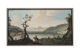 View of the Lake Avernus from the Road Between Puzzoli and Cuma Giclee Print by Pietro Fabris