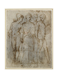 Group of Warriors (Donatello's St George at Orsanmichele in the Centre) (Pen and Brown Ink on White Giclee Print by  Raphael