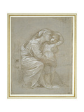 The Virgin and Child (Silverpoint, Heightened with White Bodycolour on a Slate Grey Preparation) Impression giclée par  Raphael