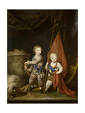 Portrait of Grand Dukes Alexander Pavlovich and Constantine Pavlovich, as Children, 1781 Giclee Print by Richard Brompton