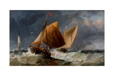 Fishing Craft Off the Eddystone Lighthouse Giclee Print by Richard Beavis