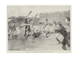 The Oxford and Cambridge Rugby Football Match at Queen's Club Giclee Print by Ralph Cleaver