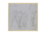 Group of Four Standing Soldiers (Silverpoint on a Blue-Grey Preparation on Off-White Paper) Impression giclée par  Raphael