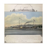 Hudson River Steamboat 'Clermont', 1858 (W/C on Paper Mounted on Canvas) Giclee Print by Richard Varick De Witt