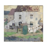 White Façades and Garden in Bosvoorde, Belgium Giclee Print by Rik Wouters