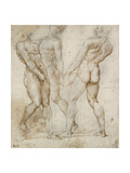 Three Nude Bearers (Pen and Brown Ink over Grey Chalk Outlines with Red Chalk on White Paper) Impression giclée par  Raphael