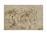 Battle Scene with Prisoners Being Pinioned (Pen and Brown Ink over Faint Indications in Black Chalk Giclee Print by  Raphael