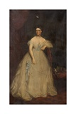 Portrait of a Lady Wearing a White Dress Giclee Print by Richard Buckner