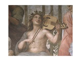 Parnassus, Detail of Apollo Playing a Viola Da Braccio, from the Stanza Della Segnatura, 1511 Impression giclée par  Raphael