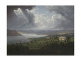 View of the Hudson River from Tarrytown Heights Giclee Print by Robert The Younger Havell
