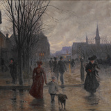 Rainy Evening on Hennepin Avenue, C.1902 Giclee Print by Robert Koehler