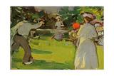 Game of Tennis, Luxembourg Gardens, C.1906 (Panel) Giclee Print by Samuel John Peploe