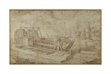 A Dredger on a Canal Giclee Print by Roelandt Jacobsz. Savery
