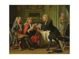 Bodin, the King's Doctor, in the Company of Dufresny and Crebillon at the House in Auteuil Giclee Print by Robert Tournieres