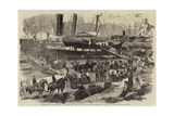 Embarkation of Artillery on Board the Argo, at Balaclava, for England Giclee Print by Robert Thomas Landells