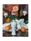 Roses in a Vase with Oranges and a White Tablecloth Giclee Print by Samuel John Peploe