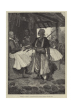 Sketches in Albania, a Bear-Fancier in the Bazaar, Scutari Giclee Print by Richard Caton Woodville II
