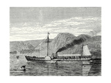 The 'Clermont' Robert Fulton's First Steamboat Sailing on the Hudson River in New York at Albany Giclee Print by Robert Fulton