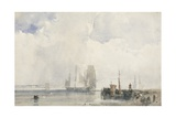Shipping on an Estuary Giclee Print by Richard Parkes Bonington