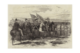 Lord Gough, Marshal Pelissier, and Staff, Inspecting the Troops at the Head-Quarters in the Crimea Giclee Print by Robert Thomas Landells