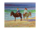 Two Children on Donkeys Giclee Print by Robert Tyndall