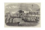 The Naval Review, the Queen and Royal Family Embarking at Portsmouth Giclee Print by Robert Thomas Landells