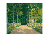 Hydrangeas on a Garden Path, 1929 Giclee Print by Santiago Rusinol i Prats