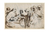 The Mystic Marriage of St. Catherine (Pen and Ink with Wash over Chalk on Paper) Giclee Print by Sir Anthony van Dyck