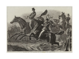 The Horse Show at the Agricultural Hall, the Fence and Water Jumping Giclee Print by Samuel John Carter