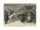The Festivities in Russia, Moscow, Scene at a Fountain the Day after the Illuminations Giclee Print by Samuel Edmund Waller