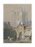 The Old Tower, Cologne Cathedral (Watercolour Heightened with White Bodycolour) Giclee Print by Samuel Prout