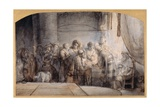 Judas Receiving the Thirty Pieces of Silver, C.1640 (Pen and Ink over Red Chalk over Wash on Paper) Giclee Print by Samuel van Hoogstraten