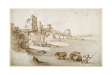 A Drover Urging a Team of Bullocks to Swim the Tiber at the Ponte Milvio Crossing (Pen and Brown In Giclee Print by Sebastian Vrancx