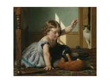 Girl and Kitten Giclee Print by Seymour Joseph Guy