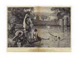 Water Frolics, the Weir Pool at Pangbourne Giclee Print by Robert Walker Macbeth